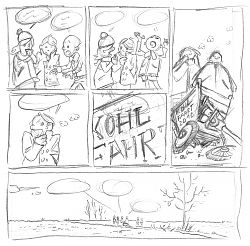 "Scribble for the comic strip ""The Kale Test Trip"""