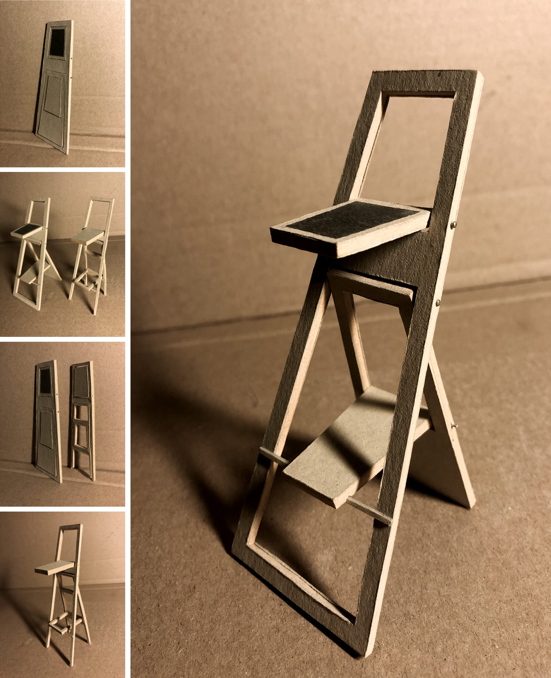 Photo: cardboard model of the blog author's collapsible barstool