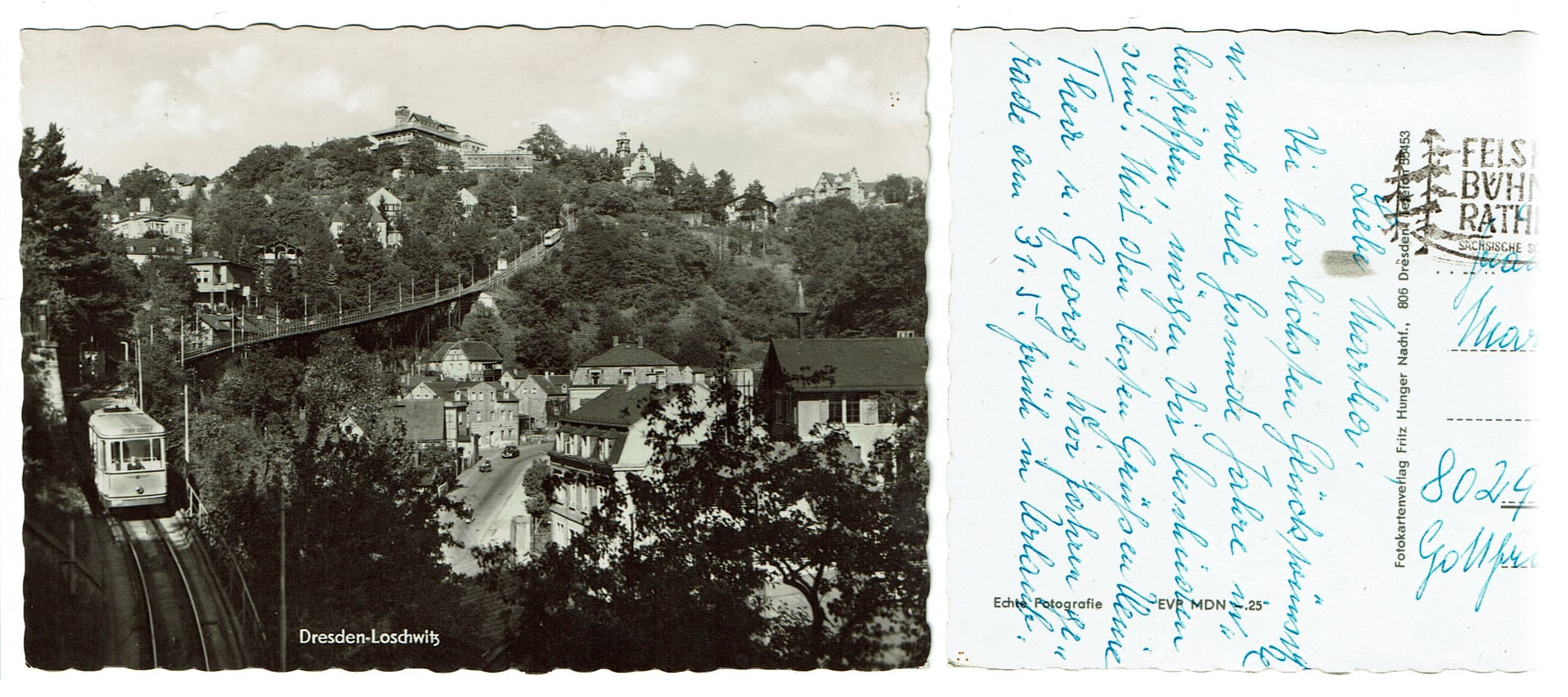 Scan of an old post card (showing the Loschwitz district of Dresden)