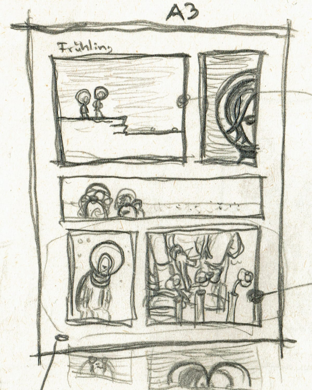 """First sketch for my comic strip """"Spring"""""""