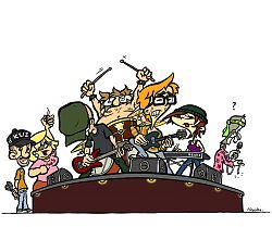 "Drawing: ""Mr Kopozky and his team as a rock band"""