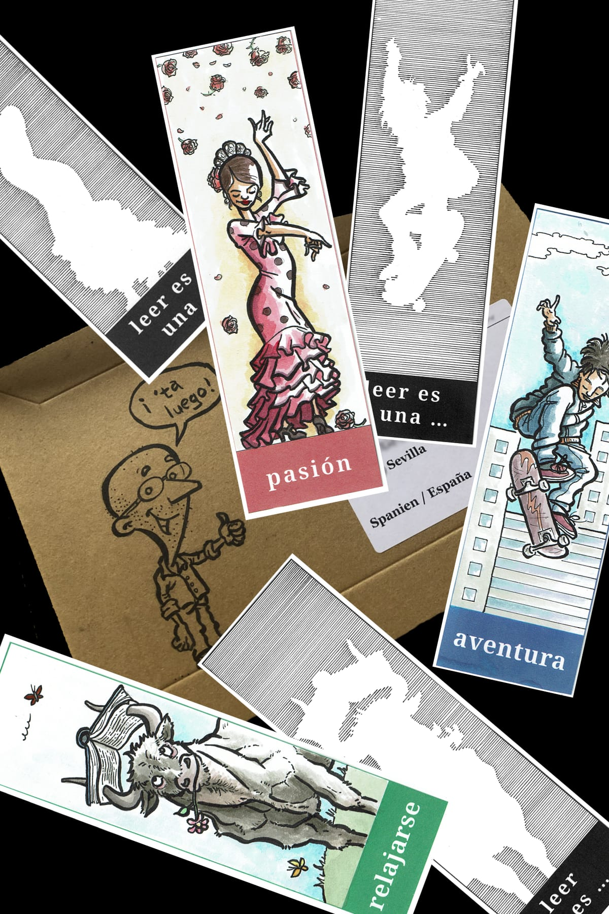 Photo of three bookmarks the blog author has made