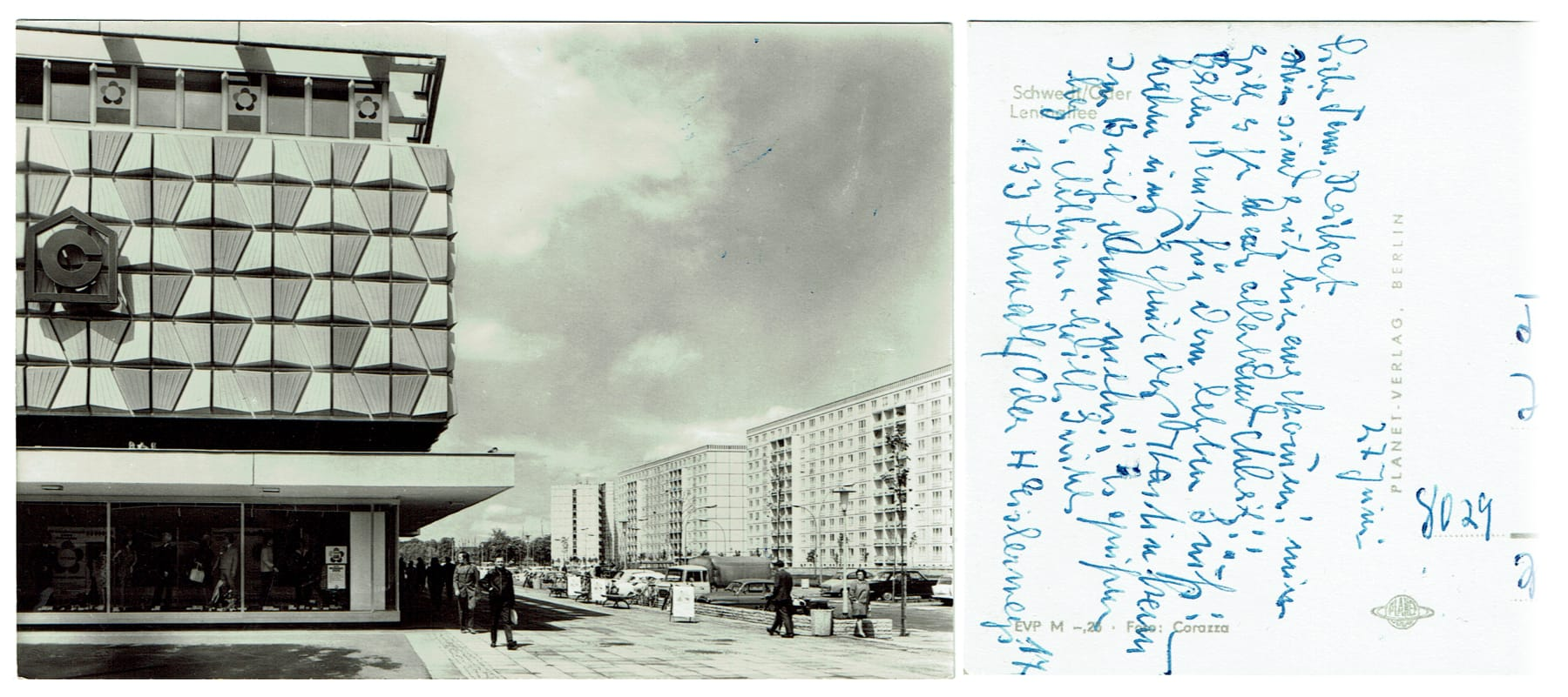 """""""Schwedt, Leninallee"""" – Scan of an old post card from the GDR"""